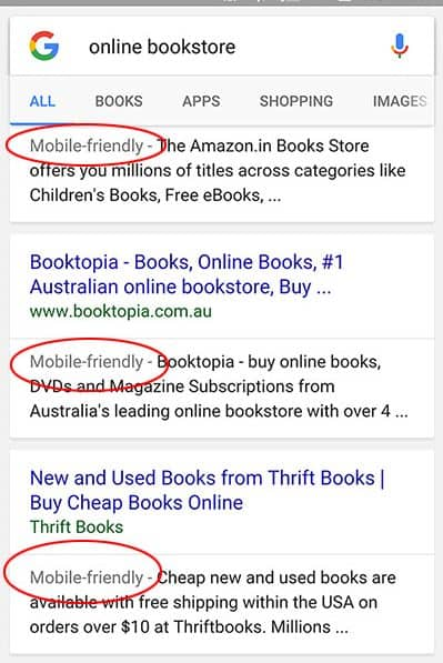 Mobile Friendly in SERP of Mobile Devices